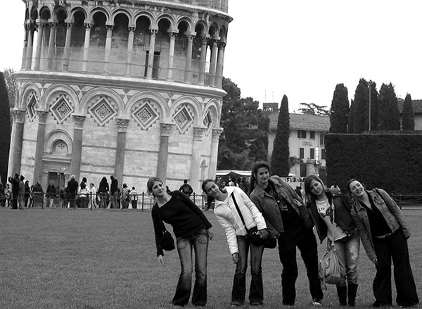 Genius Loci #64 by Jeremy Chin - Leaning Women at the Tower of Pisa