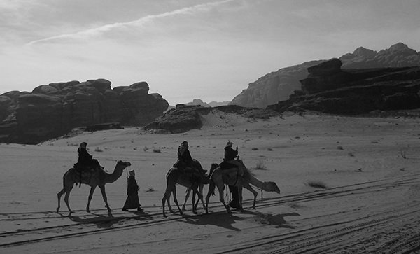 Lenscapes #29 by Jeremy Chin - Camel Riders, Desert in Wadi Rum, Jordan