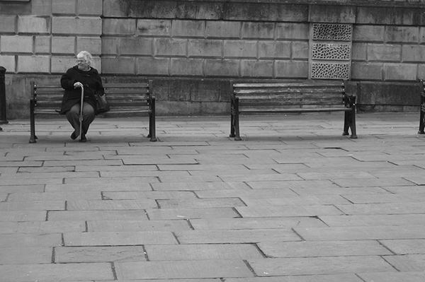Quiet Times #30 by Jeremy Chin - Old Lady on a Bench,  Venice, Italy
