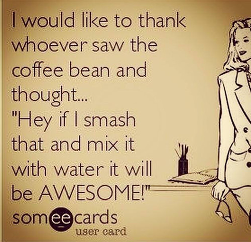 """Coffee #8: I would like to thank whoever saw the coffee bean and thought, """"Hey, if I smash that and mix it with water it will be awesome."""