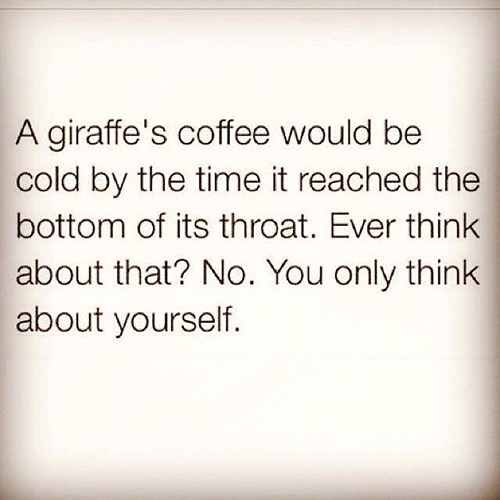 Coffee #28: A giraffe's coffee would be cold by the time it reached the bottom of its throat. Ever think about that? No. You only think about yourself.