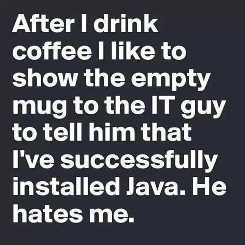 Coffee #29: After I drink coffee, I like to show the empty mug to the IT guy to tell him that I've successfully installed Java. He hates me.