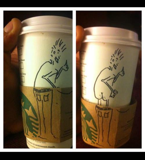 Coffee #62: Starbucks pulldown jeans cup sleeve.