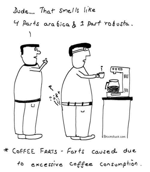 Coffee #167: Dude, that smells like 4 parts arabica and 1 part robusta. Coffee farts - farts caused by excessive coffee consumption.