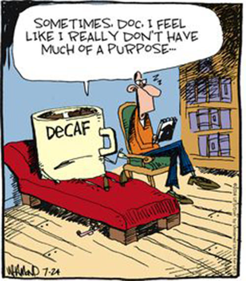 Coffee #197: Sometimes doc, I feel like I really don't have much of a purpose. - Decaf
