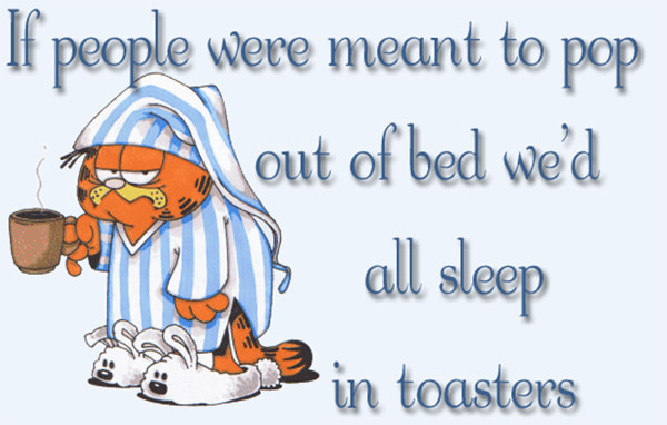 Coffee #200: If people were meant to pop out of bed we'd all sleep in toasters.