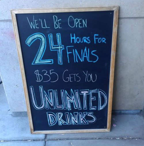 Coffee #229: We'll be open 24 hours for Finals. $35 gets you unlimited drinks.