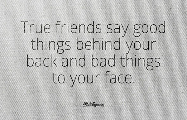 Friendship #14: True friends say good things behind your back and bad things to your face.