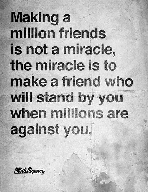 Friendship #15: Making a million friends is not a miracle, the miracle is to make a friend who will stand by you when millions are against you.