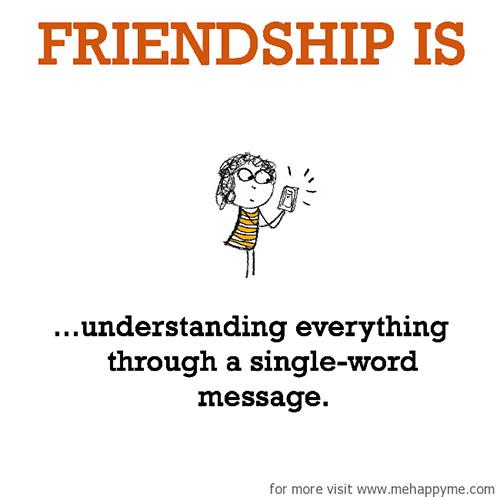 Friendship #37: Friendship is understanding everything through a single-word message.