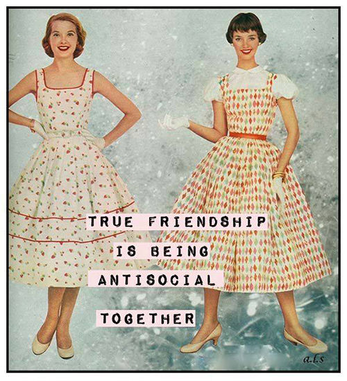 Friendship #48: True friendship is being antisocial together.