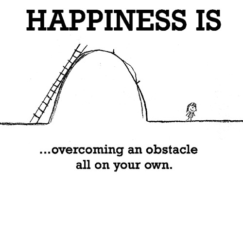 Happiness #199: Happiness is overcoming an obstacle all on your own.