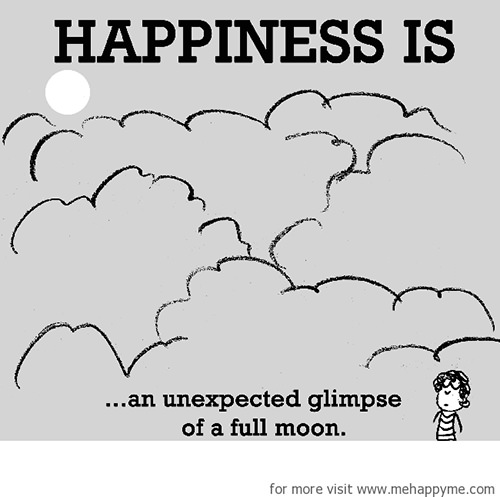 Happiness #212: Happiness is an unexpected glimpse of a full moon.