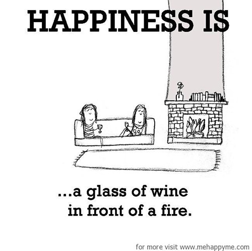 Happiness #220: Happiness is a glass of wine in front of a fire.