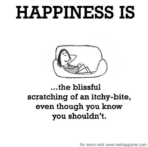 Happiness #239: Happiness is the blissful scratching of an itchy bite even though you know you shouldn't.