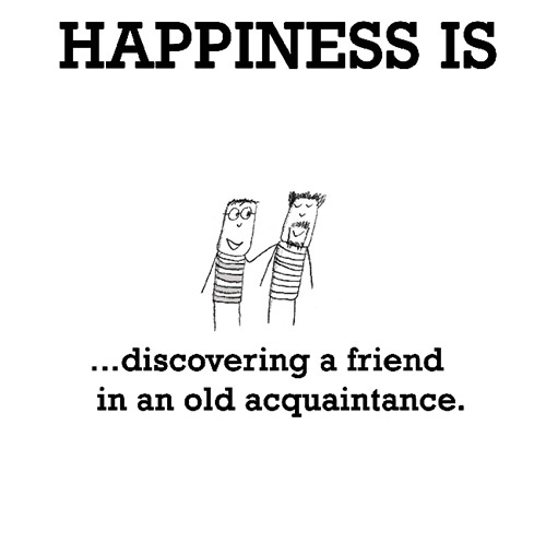 Happiness #240: Happiness is discovering a friend in an old acquaintance.