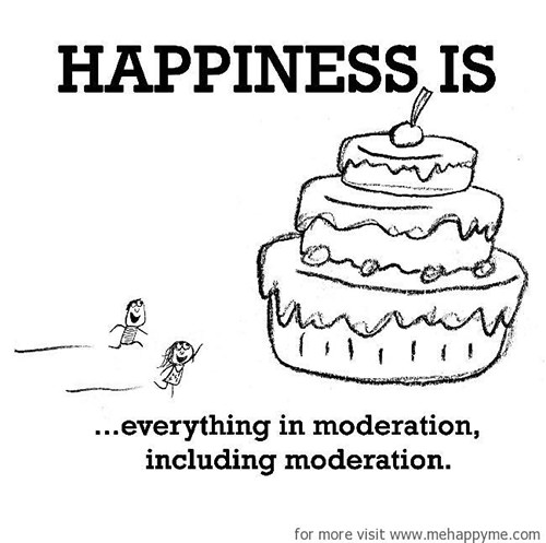 Happiness #249: Happiness is everything in moderation, including moderation.