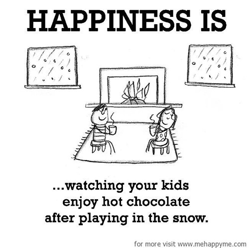 Happiness #251: Happiness is watching your kids enjoy hot chocolate after playing in the snow.