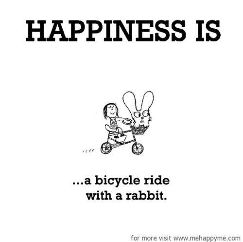 Happiness #373: Happiness is a bicycle ride with a rabbit.