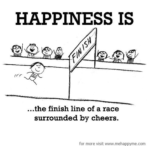 Happiness #378: Happiness is the finish line of a race surrounded by cheers.