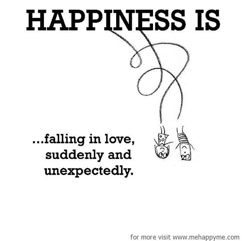 Happiness #380: Happiness is falling in love suddenly and unexpectedly.