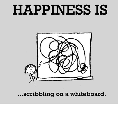 Happiness #407: Happiness is scribbling on a whiteboard.