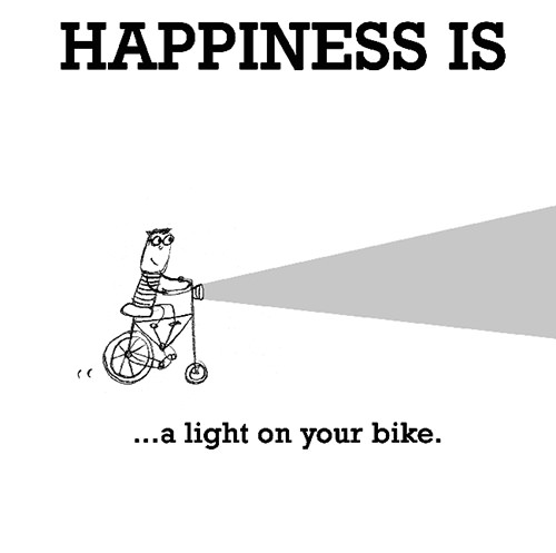 Happiness #440: Happiness is a light on your bike.