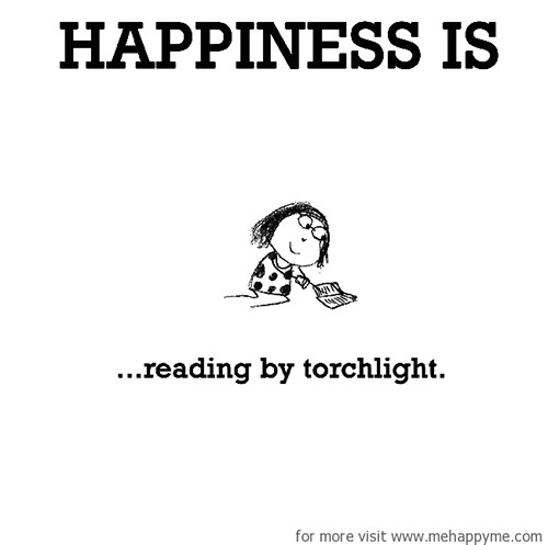 Happiness #449: Happiness is reading by torchlight.
