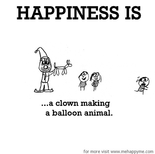 Happiness #464: Happiness is a clown making a balloon animal.
