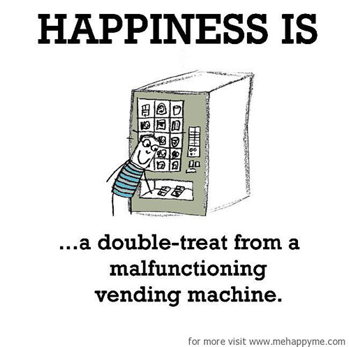 Happiness #466: Happiness is a double treat from a malfunctioning vending machine.