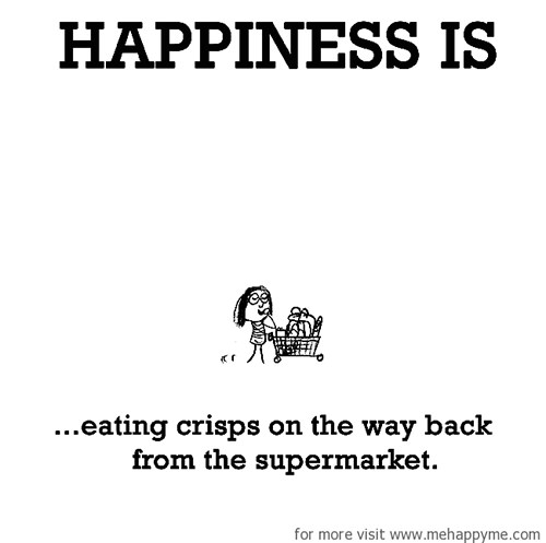 Happiness #480: Happiness is eating crisps on the way back from the supermarket.