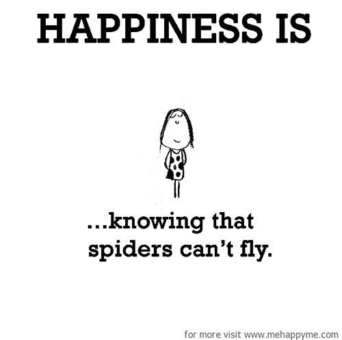 Happiness #492: Happiness is knowing that spiders can't fly.