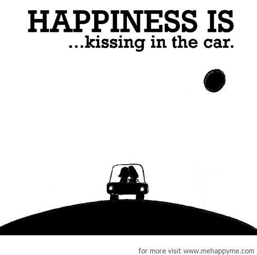 Happiness #559: Happiness is kissing in the car.