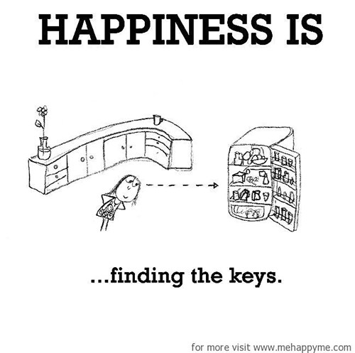 Happiness #603: Happiness is finding the keys.