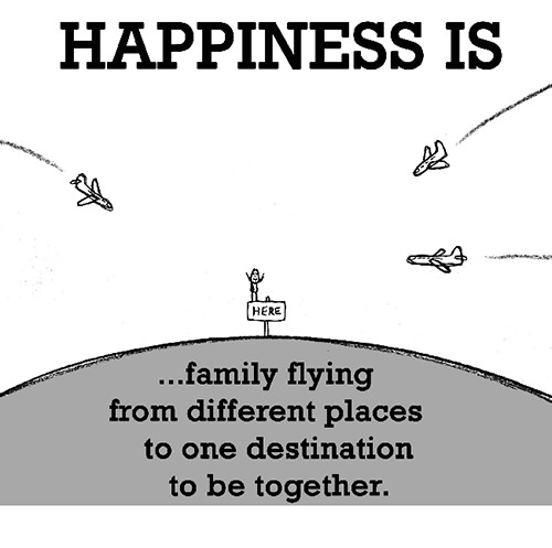 Happiness #621: Happiness is family flying from different places to one destination to be together.