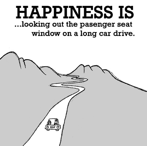 Happiness #623: Happiness is looking out the passenger seat window on a long car drive.