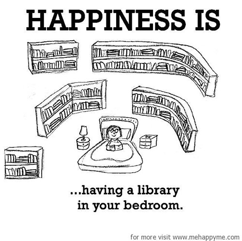 Happiness #671: Happiness is having a library in your bedroom.