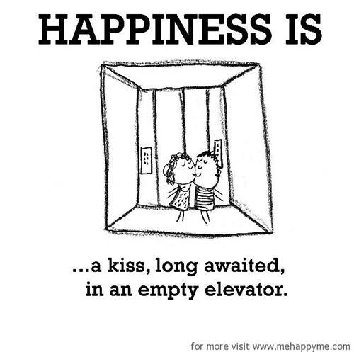 Happiness #673: Happiness is a kiss long awaited in an empty elevator.