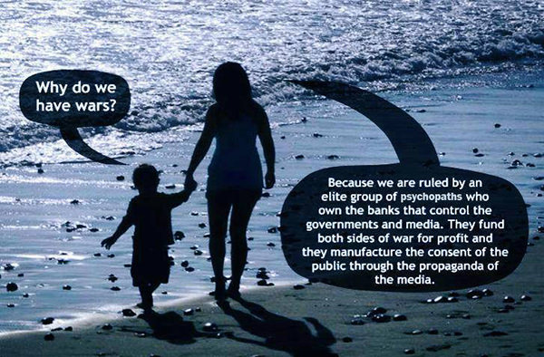 Hard Truths #16: Why do we have wars? Because we are ruled by an elite group of psychopaths who own the banks that control the governments and media. They fund both sides of war for profit and they manufacture the consent of the public through the propaganda of the media.