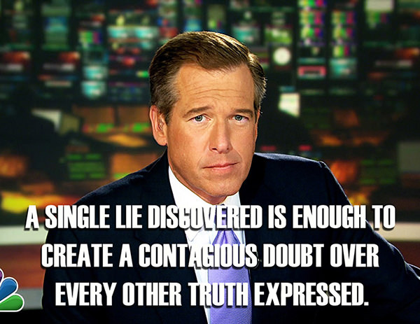 Hard Truths #82: A single lie discovered is enough to create a contagious doubt over every other truth expressed.