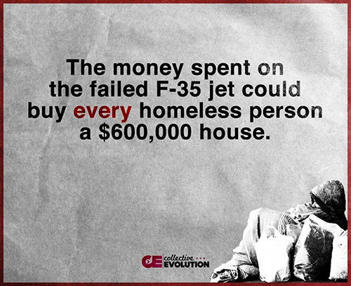 Hard Truths #86: The money spent on the failed F-35 jet could buy every homeless person a $600,000 house.