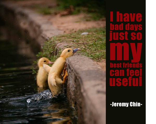 Jeremy Chin #74: I have bad days just so my best friends can feel useful. - Jeremy Chin