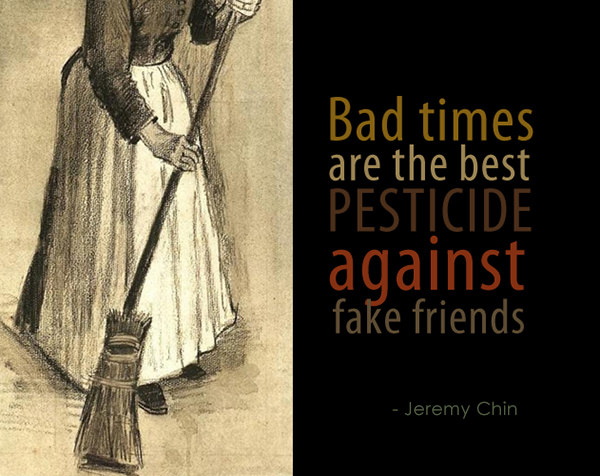 Jeremy Chin #136: Bad times are the best pesticide against fake friends.