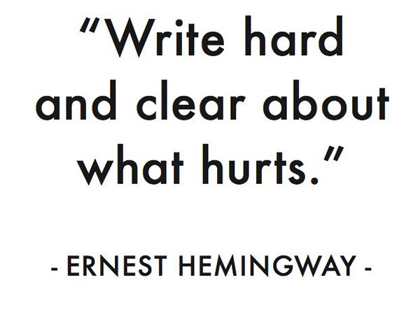 Literary #36: Write hard and clear about what hurts. - Ernest Hemingway