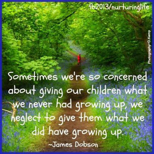 Parenting #5: Sometimes we're so concerned about giving our children what we never had growing up, we neglect to give them what we did have growing up. - James Dobson