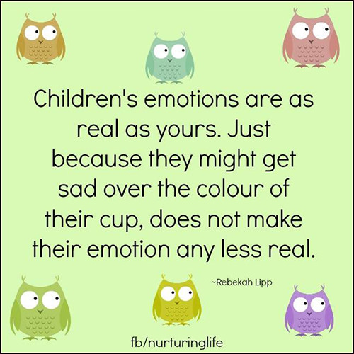Parenting #8: Children's emotions are as real as yours. Just because they might get sad over the colour of their cup, does not make their emotion any less real. - Rebekah Lipp