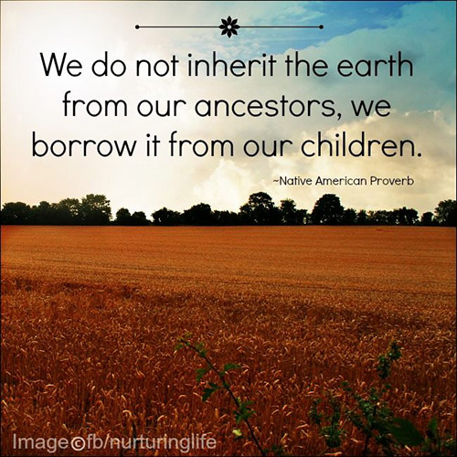 Parenting #12: We do not inherit the earth from our ancestors, we borrow it from our children. - Native American Proverb