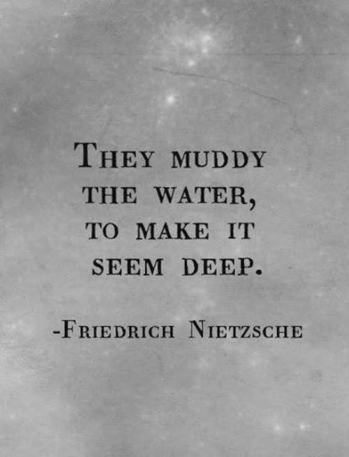 Save Our Planet #29: They muddy the water to make it seem deep. - Friedrich Nietzsche