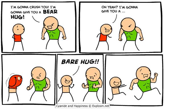 Tickled #259: Bear Hug vs Bare Hug