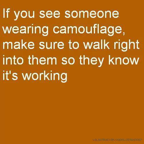 Tickled #287: If you see someone wearing camouflage, make sure to walk right into them so they know it's working.